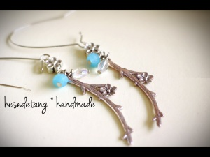 the Silver Garden Earrings in Cyan