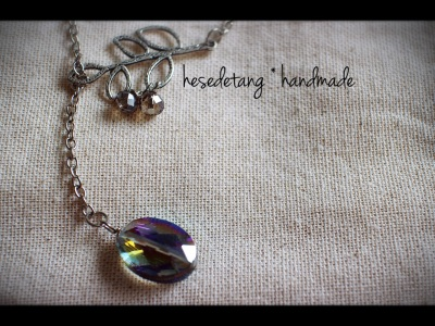 Glass Lariat Necklace with rainbow faceted suncatcher by hesedetang *